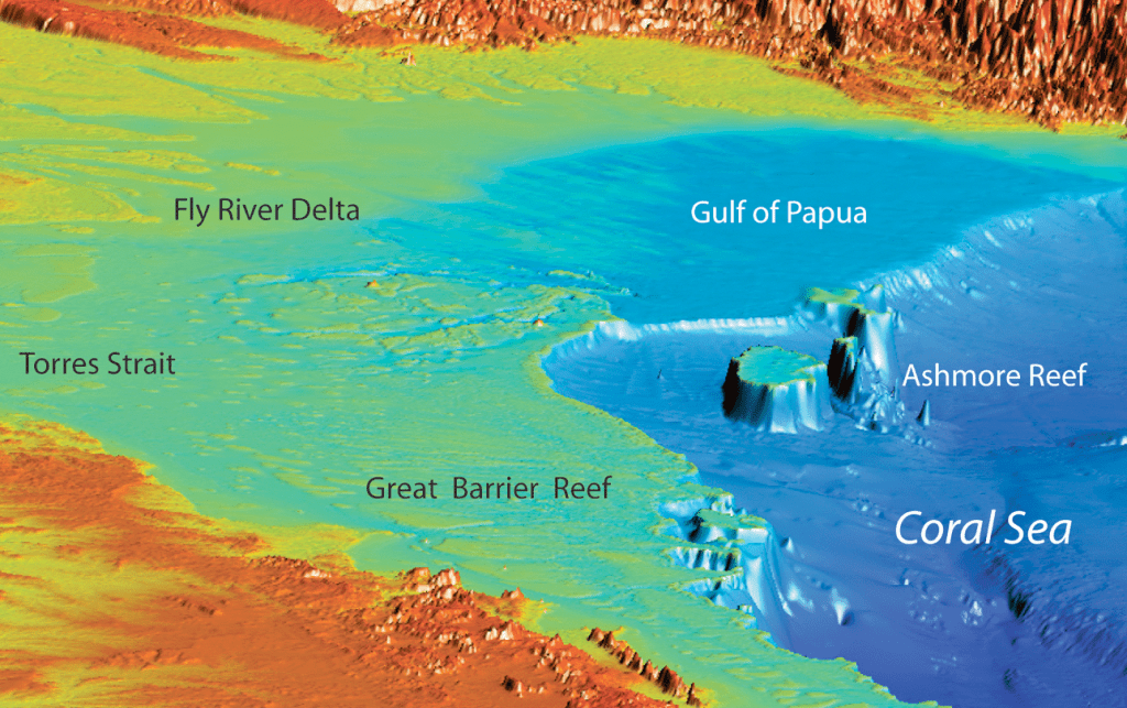 "Three-dimensional colour bathymetry image showing an example of the northern Great Barrier Reef ""rimmed"" continental shelf."
