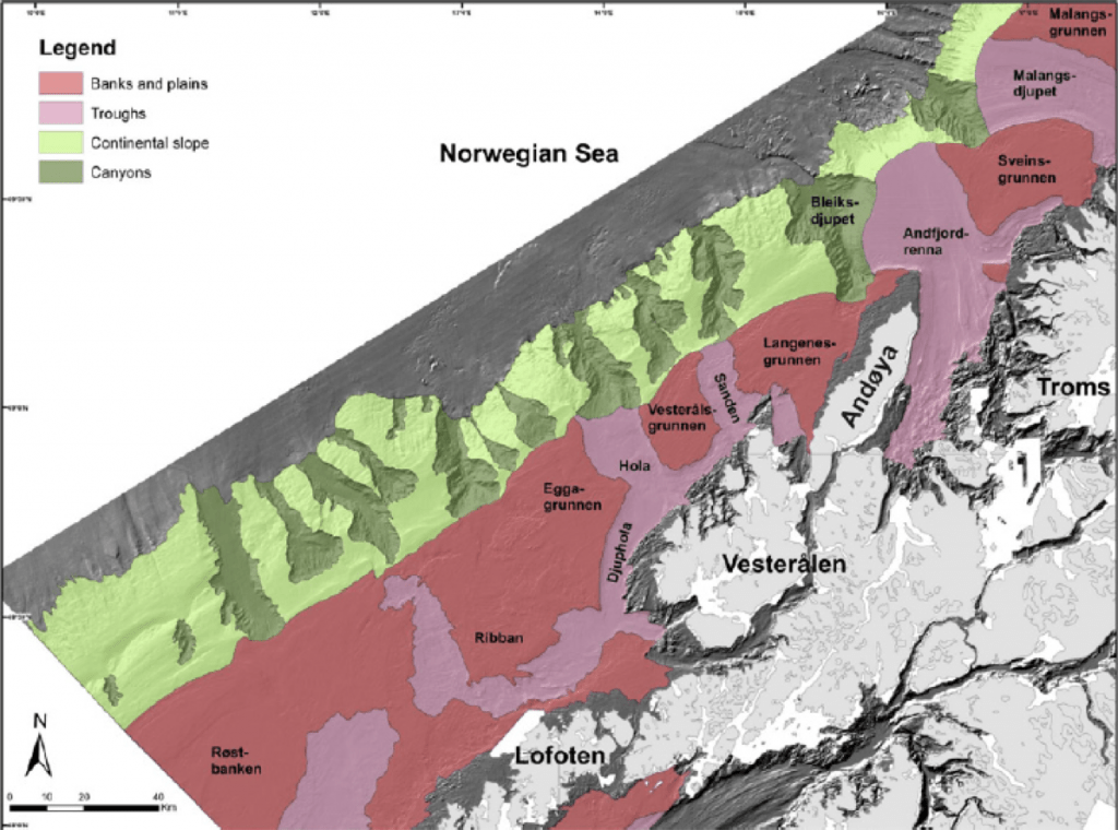 Geomorphic features of the continental margin off central-northern Norway showing banks, glacial troughs and submarine canyons (after Buhl-Mortenson et al., 2012).