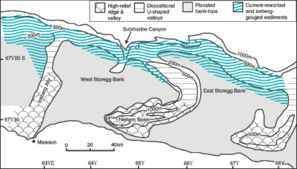 Geomorphic features of the Mac.Robertson shelf, east Antarctica showing banks and incised glacial troughs (after Harris and O'Brien, 1996).