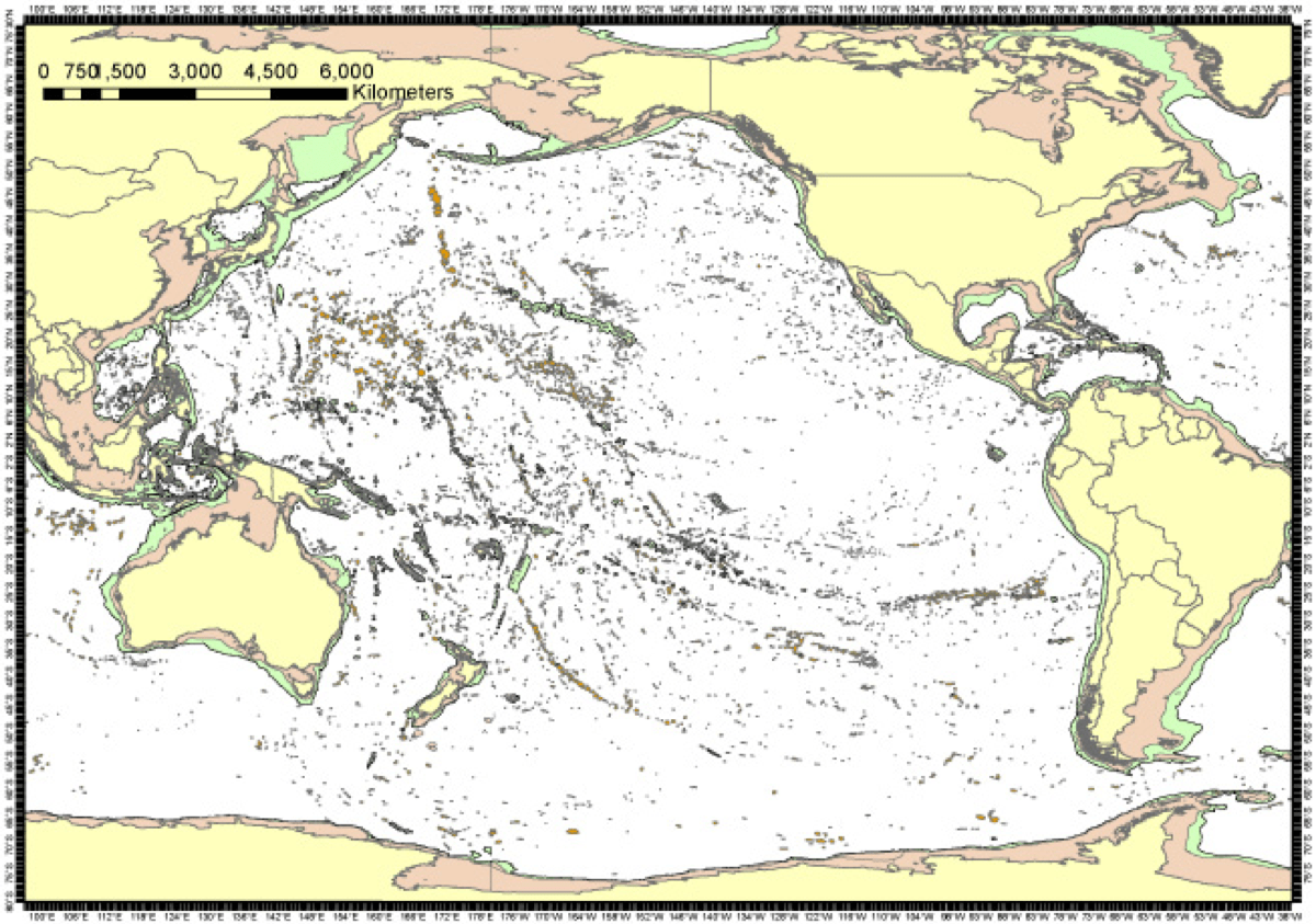 Seamounts blue habitats there are more seamounts in the pacific ocean than in the atlantic and their distribution can be described as comprising several elongate chains of gumiabroncs Choice Image